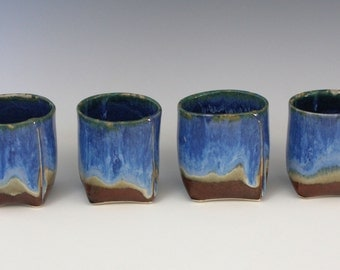 Blue, green, cream and brown squared cups - 6 oz