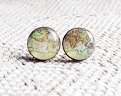 Whole Wide World 2 - Vintage World Map Stud Earrings- Antique World Map- Nickel free stud earrings- Retro Space- Globetrotter
