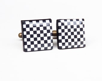 Checkerboard Cufflinks, Chess Board Cufflinks, Black and White Men Cufflinks, Square Cufflinks, Gift Accessories For Men, Groomsmen Gift