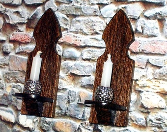 Medieval Candle Sconces, Dollhouse Miniature1/12 Scale, Hand Made