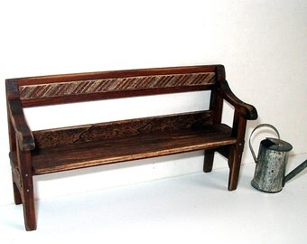 Rustic Porch Bench, Dollhouse Miniature 1/12 Scale, Hand Made