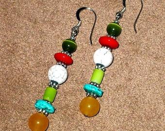 Multi-Color Bohemian Beaded Earrings, Hand Made