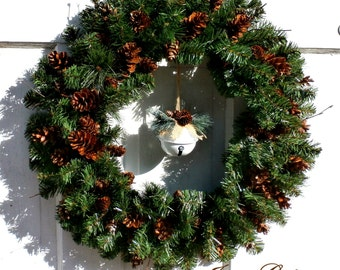 """Evergreen Long Island Pinecone Wreath White Bell Center-24"""" Double Thick FREE SHIPPING US Only+ Free Wreath Hanger"""