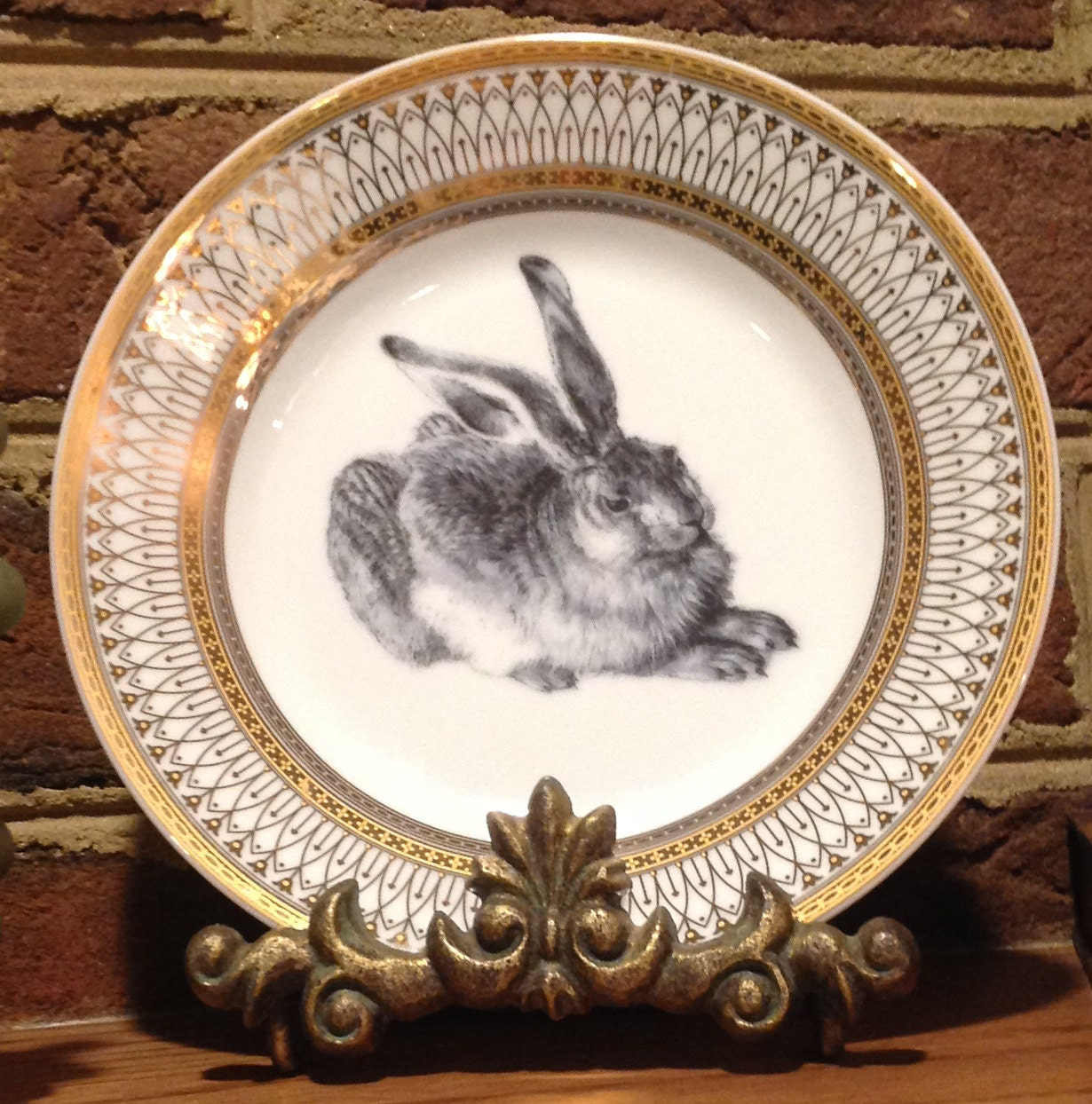 & Rabbit Hare Gold Silver Dinnerware/Plates/Dishes Easter