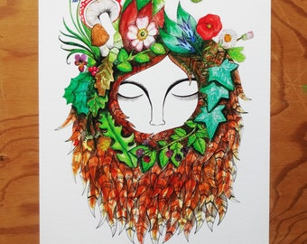 SALE, Mother Nature, Gift for Her, Fall, Autumn, Woodland, Earth Goddess, Elements, Earth Woman, A4 Giclee Archival Print, Nature