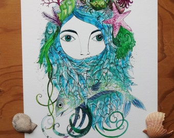 SALE, Mother Nature, Sea Queen, Water Goddess, Mermaid Art Print, Ocean, Under the Sea, A4 Giclee Print, Water, Ocean, Elements,
