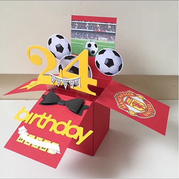 A2 Size Pop Up Birthday Card In Man United Football Theme
