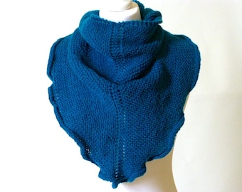 teal knit shawl, petrol blue knitted wrap, neckwarmer, knitted shawlette, Free UK shipping