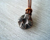Rustic Artisan ZIA Bronze Necklace Leather Adjustable Strand New Mexico Jewelry