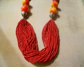 Valentine Red Multi-Strand Seed Bead Necklace with Orange and Gold and Silver