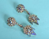 Vintage 1960s Rhinestone Chandelier Earrings - Aurora Borealis - Wedding Fashions