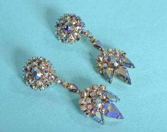 Vintage 1960s Rhinestone Chandelier Earrings - Aurora Borealis - Wedding Fashions