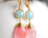 Mint Jade and Coral Gapefruit Pink Dangle Earrings. Drop Earrings. Wedding Jewelry. Bridesmaid Earrings. Drop Earrings. Earrings. Gift.