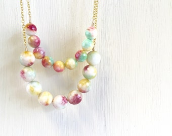 SALE Colorful Double Strand Bead Necklace in Gold. Double Strand Agate Gemstone Necklace.