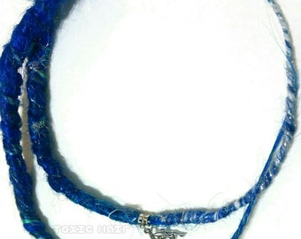 Winter fay 2 sparkly dark blue to white dreads ready to ship, dread beads, dreadlock, wrap, extensions