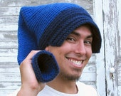 Blue crochet hat SnorkaStocking - stocking cap with snorkel end, reversible ear warmer or brim
