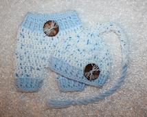 Baby Boy Set - Blue - White - Infant Stocking Cap and Short Set - Original - Shorts - Lightweight for Spring or Summer - Handmade in USA