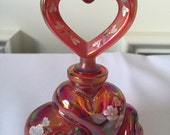Fenton Red Carnival Glass Hand Painted Perfume Bottle Heart