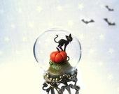 Ring Pumpkin & black cat - adjustable Terrarium ring.