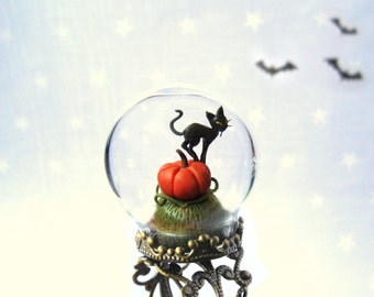 Halloween Ring Pumpkin & black cat - adjustable Terrarium ring.