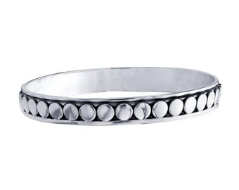 Sterling Silver Beaded Bangle Bracelet                          CC-30763