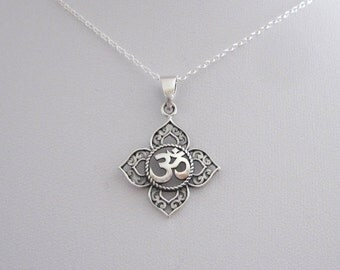 Filigree OHM OM AUM Buddha Lotus sterling silver pendant necklace, Buddhist, yoga necklace