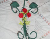 Hollywood regency Pretty tole red roses on a green candle holder