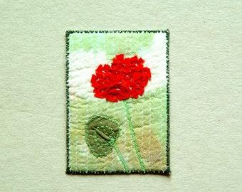 Geranium on green, ACEO original textile art, 2.5 x 3.5, red green, spring flower, collectors item, gift for gardener, for women, mini art