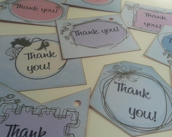 Thank you tags set wedding birthday baby shower set of 9 pieces