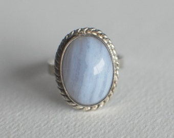 blue lace agate rope ring