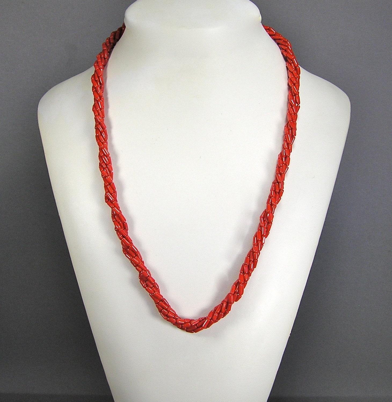 Torsade Necklace: Coral Torsade Necklace Retro Coral Necklace Twist Necklace