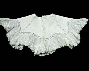 Antique Victorian Lace Collar or Bib for Doll or Baby - Doll Clothes Accessories
