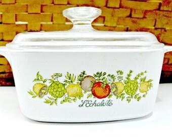 Corning Ware Casserole Covered Dish - Spice of Life - L'Eschalote - 1-1/2 Qt
