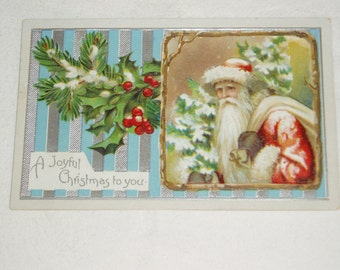 Postcard, Santa with Holly, 1918, December 24 cancel