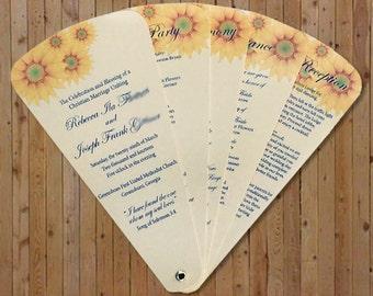 Sunflower 6 Petal Wedding Fan Program