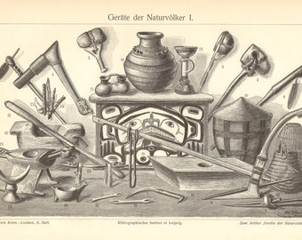 1904 Indigenous Tools and Weapons Original Antique Engraving