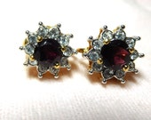 Vintage Earrings GARNET and Rhinestone Halo GOLD Plate Glamour Bride Beautiful Fashion Holidays Red
