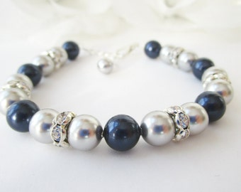 Pearl Bracelet, Bridesmaid Bracelet,Navy Blue and Silver, Navy Blue Bracelet, Silver Pearl Bracelet, Swarovski Pearl, Bridesmaid Jewelry