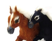 Vintage Horse Figurines Equestrian Decor Pair Horses with Real Animal Fur Taxidermy Chestnust Brown & Black Standing Horse Statue