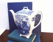 Vintage Coffee Pot Old Britian Castles Johnson Bros England Crown Mark Blue and White Transferware China