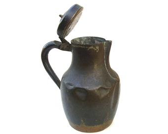 Antique French Copper Pitcher Rustic Farmhouse Metal Jug Hinged Lid Vintage French Country Kitchen