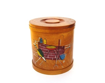 Mid century Kitchen Wood Canister Retro Summer BBQ Design Round Wooden Pantry Box Bentwood Storage with Lid 1960s Enesco