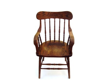 Antique Oak Chair Vintage Wood Captain Chair Spindle Back Curved Arms Wooden Windsor Chair Smokers Bow Barrel Chair
