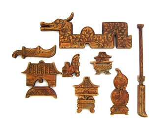 Vintage Asian Art Chinese Wood Carvings Mid century Retro Wooden Puzzle Feng Shui Cultural Symbols