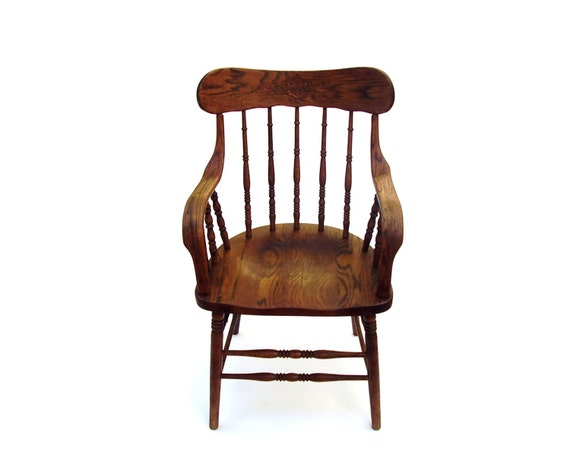Antique oak chair vintage wood captain chair by for Wooden kitchen chairs with arms