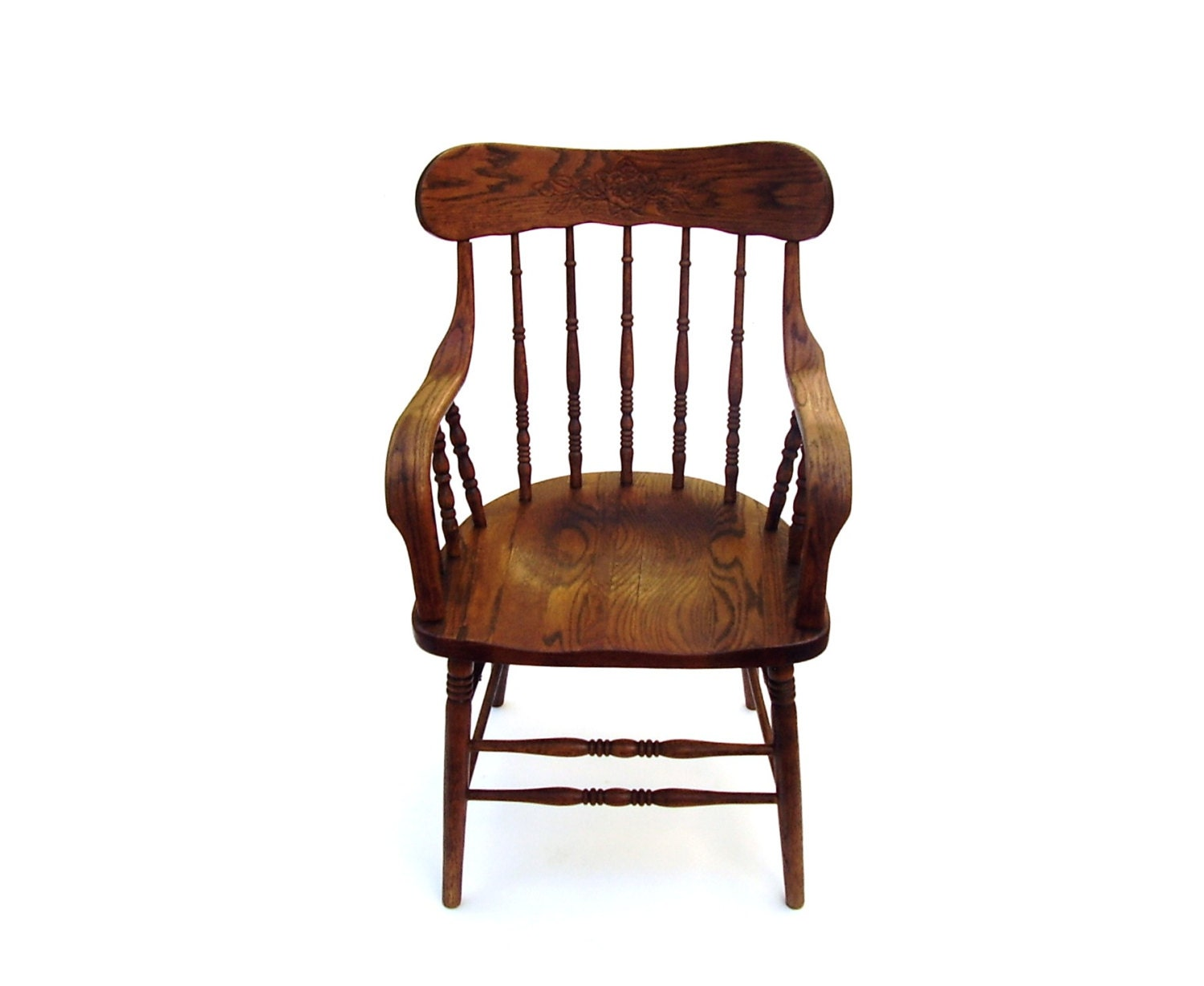 Amazing photo of Antique Oak Chair Vintage Wood Captain Chair by OceansideCastle with #6F3B26 color and 1500x1229 pixels