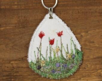 Spring Garden Embroidered pendant fiber fabric necklace garden lover silk embroidered tulips textile art