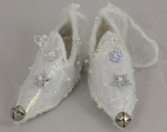 fairy shoes decoration Sparkle Ice snow white snowflake holiday decor elf slipper ornament elf faerie shoe holiday ornament