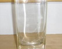 """Vintage Glass Vase - Clear Glass Rectangular Vase, 8"""" Tall, Modern Glass Vase, Home Decor"""