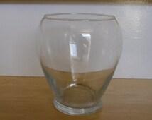 """Vintage Glass Vase - Clear Glass Round Vase, 6 1/4"""" Tall, Modern Glass Vase, Terrarium Vase, Rose Bowl, Home Decor"""